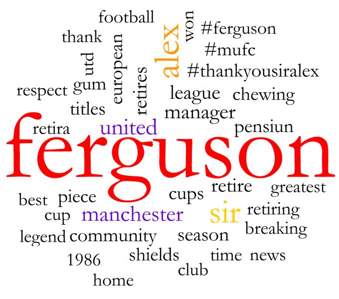 Social media word cloud about Alex Ferguson