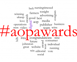 word cloud of AOP Awards