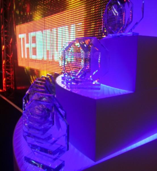 Blue awards with orange background