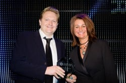 Toms Evans collecting his Online Media Award for MSN
