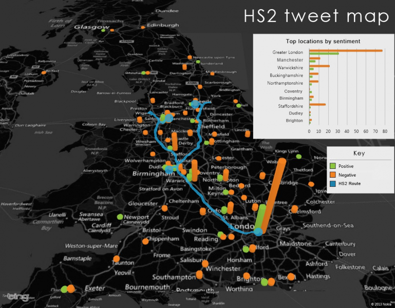 HS2 on Twitter by location