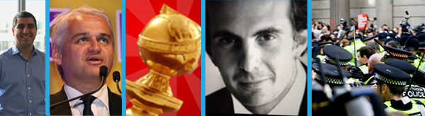 From Left: Niaz Samadizadeh, Patrick O'Flynn, the Golden Globes icon on Twitter, Yannick Bolloré and a file photo of police, courtesy KashKlick