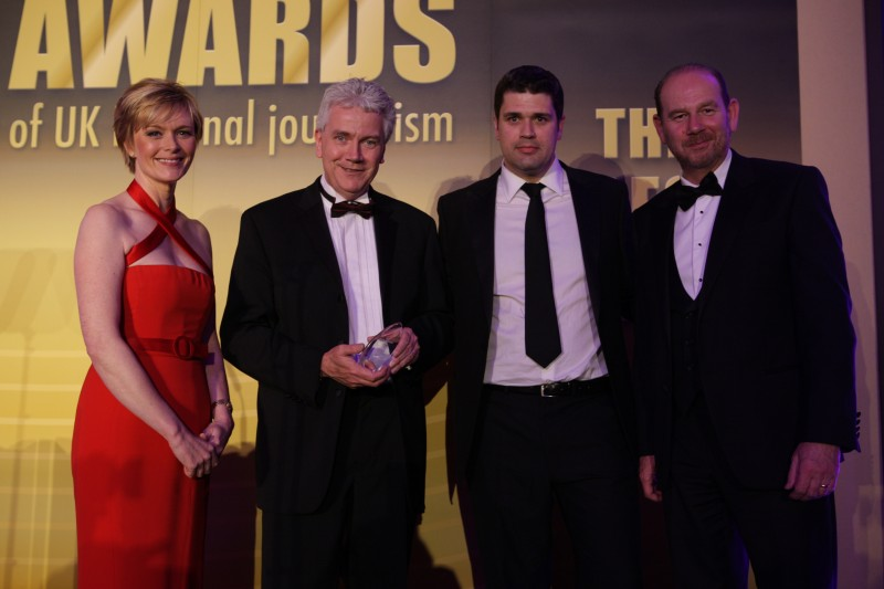 Tim Hallissey, second from the left, picked up the Best Sports Team award on behalf of his department at the Press Awards 2013 on Tuesday.