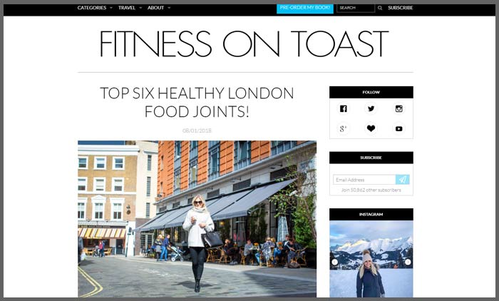Vuelio fitness blog ranking fitnessontoastt
