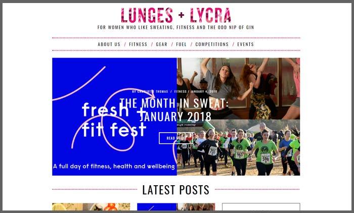 Vuelio fitness blog ranking lungesandlycra