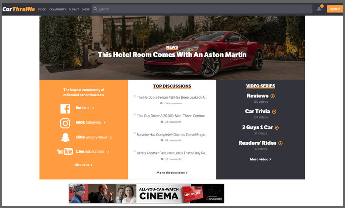 Vuelio top 10 car blogs carthrottle