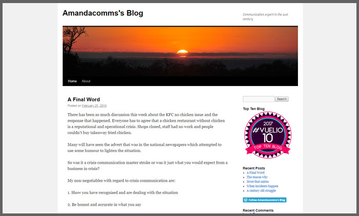 Vuelio top 10 pr blogs amandacommsblog