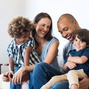 Family with children laughing