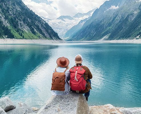 two people travelling