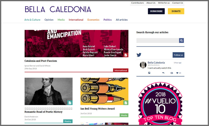 Vuelio Blog Awards 2018 - Political - Bella Calendonia