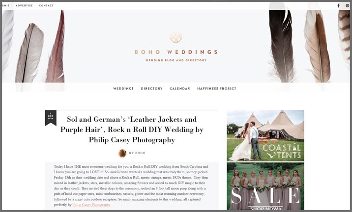 Vuelio Blog Awards 2018 - Wedding - Boho Weddings