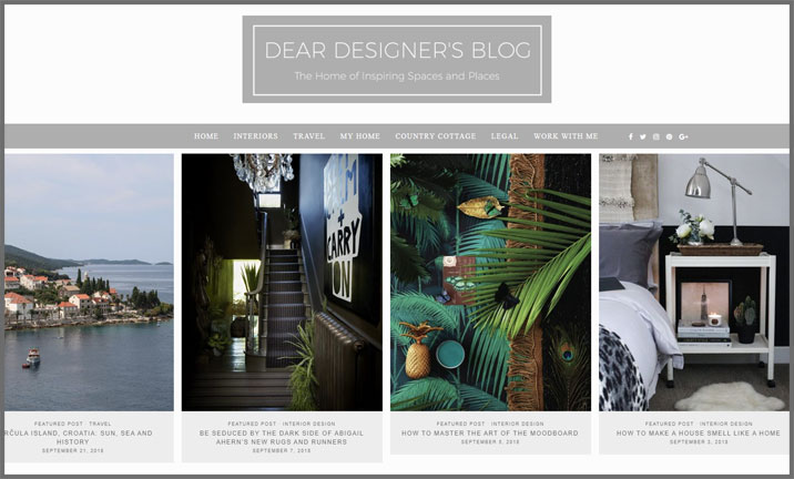 Vuelio Blog Awards 2018 - Interior Design - Dear Designer's Blog