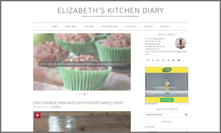 Vuelio Blog Awards 2018 - Food & Drink - Elizabeth's Kitchen Diary