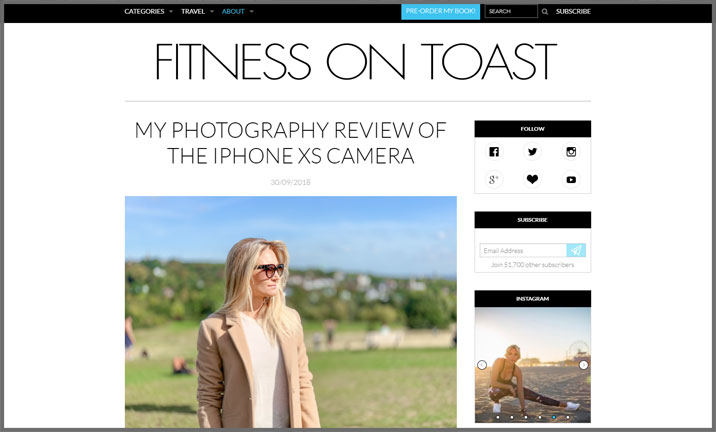 Vuelio Blog Awards 2018 - Health & Fitness - Fitness on Toast