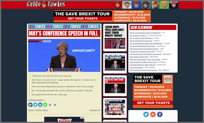 Vuelio Blog Awards 2018 - Political - Guido Fawkes