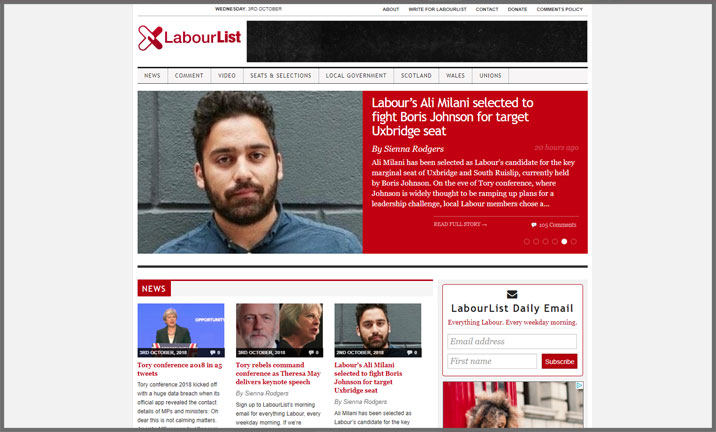 Vuelio Blog Awards 2018 - Political - LabourList