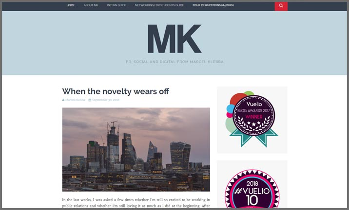 Vuelio Blog Awards 2018 - PR & Comms - MK