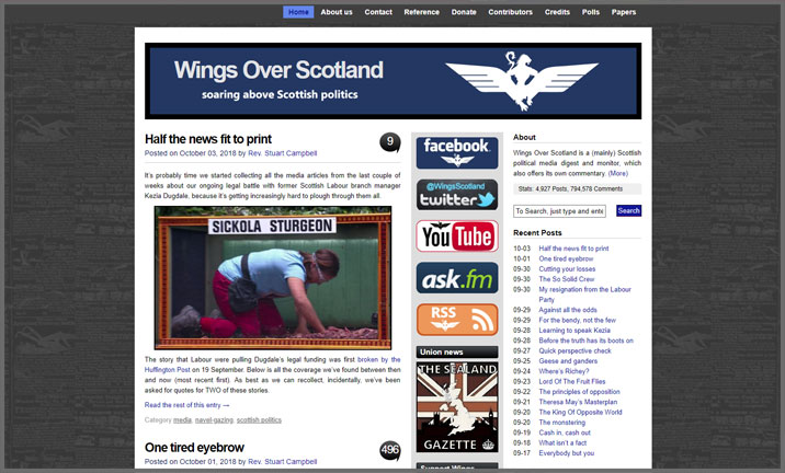 Vuelio Blog Awards 2018 - Political - Wings Over Scotland