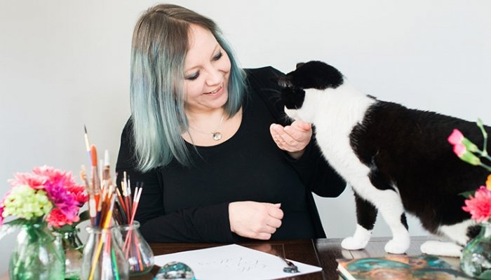 Claire Gould and cat