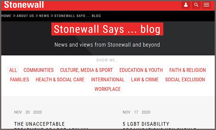 Stonewall says... blog