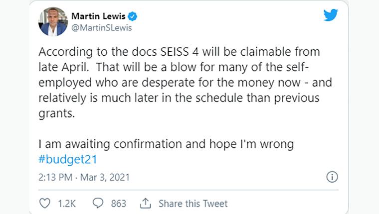 Martin Lewis budget tweet