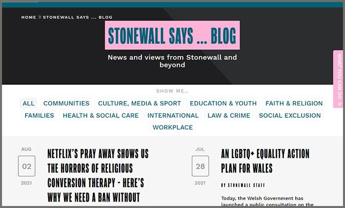 Stonewall Says Blog